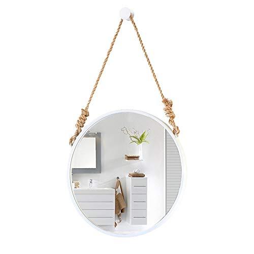 Espejo redondo de pared de estilo nórdico blanco/con cuerda ajustable de cáñamo, correa de metal, baño, espejos de vanidad montados en la pared, espejo cosmético de pared, decoración de baño /60CM