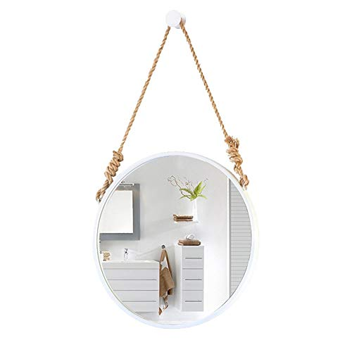 Specchio rotondo bianco parete nordica/con corda di canapa regolabile Ciondolo appeso|Metallo |...