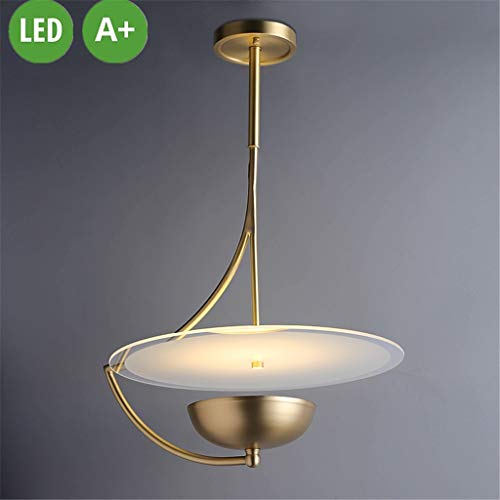 Volledig koperen hanglamp Marble Kroonluchter Frisbee Flying Creative Design Hanger lightshade LED Saucer UFO Opknoping Lamp Messing Lamp Shade Villa Restaurant Bar Puur Koperen hanglamp 24W
