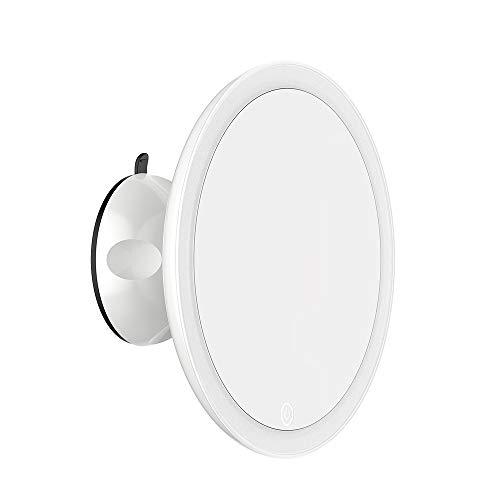 TOUCHBeauty Specchio Ingranditore 7X, Specchio Cosmetico con Luci a LED, Rotazione a 360°, Potente Ventosa, Tocco Intelligente per Bagno e Viaggi