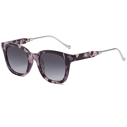 SOJOS Fashion Rechteckig Polarisierte Sonnenbrille Damen Herren Übergroß in Mode SJ2050 mit Gold Hochschwarz Rahmen/Grau