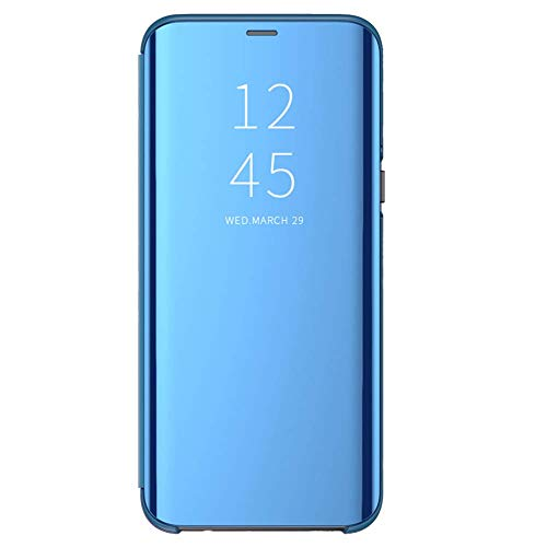 Funda para Xiaomi Mi A2 Lite Suave + Duro Carcasa Espejo Mirror Flip Caso Ultra Delgada Shock Caja del Teléfono Translucent Window View (Azul, Xiaomi Mi A2 Lite)