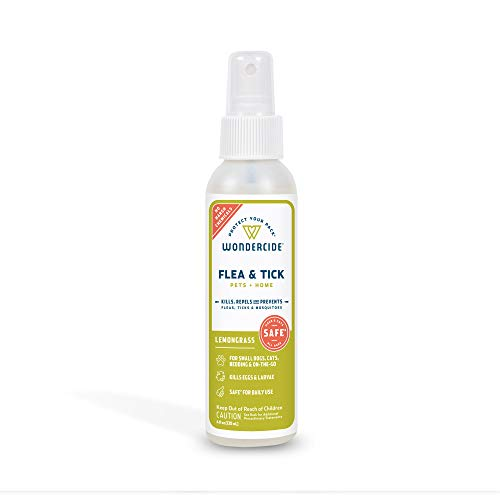 Wondercide - Flea, Tick and Mosquito Spray for Dogs, Cats, and Home - Flea and Tick Killer, Control, Prevention, Treatment - with Natural Essential Oils - Pet and Family Safe - Lemongrass 4 oz