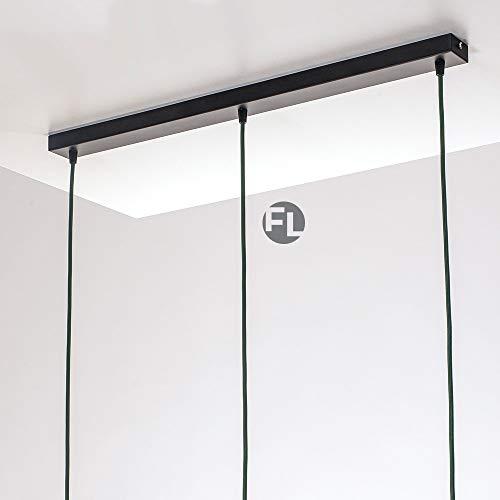 Flairlux Baldachin rechteckig Lampe 3 flammig schwarz Metall Lampenbaldachin rechteckig zum Bau von Deckenleuchten | Lampe für Esstisch | Lampenaufhängung Lampenzubehör DIY | L 70 x B 5 x H 2,5