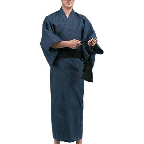 Fancy Pumpkin Kimono Giapponese da Uomo Jinbei Yukata Home Robe Pigiama Vestaglia A8 Taglia L