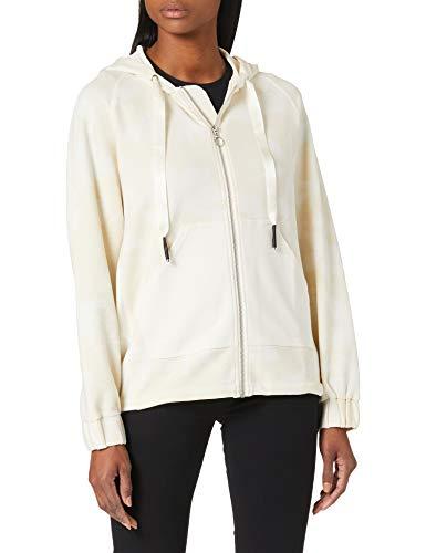 Desigual Hoodie Zip Pintucks Camo Sudadera, Blanco, L para Mujer