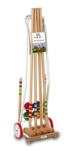 GICO Juego de croquet de alta calidad: mazos 100 cm divertido juego para el aire libre o el jardín para niños y adultos, con componentes de calidad fabricados en madera maciza. 3124