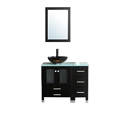 "Walcut 36"" Bathroom Vanity and Sink Combo Black MDF Wood Cabinet and Round Glass Vessel Sink Faucet Drain Mirror Combo Bathroom Vanities(2)"