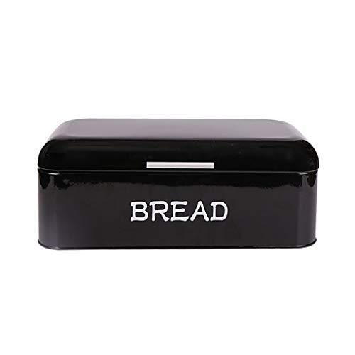Boîte de rangement pour aliments de cuisine, corbeille à pain en acier galvanisé par Chef nordique vintage, grande capacité épaisse en métal, noir (Color : Black)