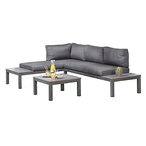 OUTLIV. Morsum, modulare Gartenlounge, Loungegruppe 3-teilig aus Aluminium mit Polstern in Grau, Loungemöbel