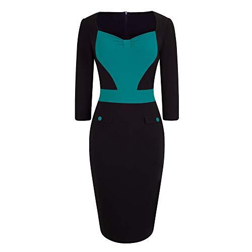 QUNLIANYI Skater jurk vrouwen dragen om te werken klassieke patchwork potlood jurk elegante contract kleur blok jurk