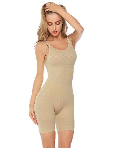 Hawiton Body Donna Intimo Modellante Corsetto Elastico Contenitivo Snellente Bodysuit Bustino Pancia Shaper Controllo Shapewear Perdita di Peso (M/Peso:60-70kg, Vita: 73-80cm, Beige)