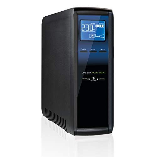 Tecnoware EXA Plus 2000 Unterbrechungsfreie Stromversorgung für Gaming-PC und -Konsole - Hohe Geräuschlosigkeit - 8 IEC-Ausgänge - Autonomie bis zu 50 min - Leistung 2000VA, Win/mac