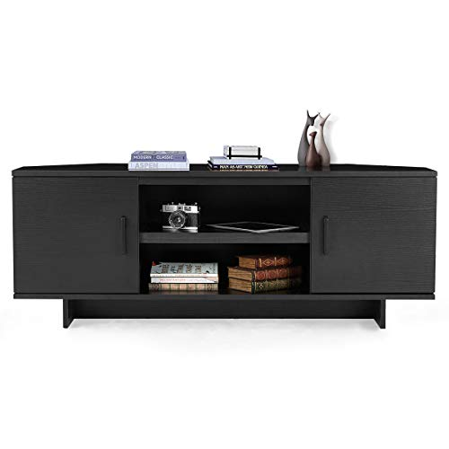 """MELLCOM Furniture Minimal TV Stand, Classical Design TV Cabinet for TV Up to 50"""" Living Room Bedroom Media Console Table with Cabinet Door and Shelves (Black)"""