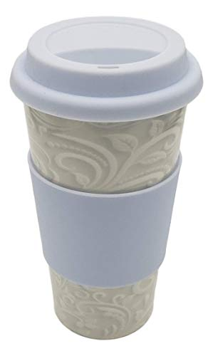 Ceramic Double Wall Travel Mug with 100% Silicone Lid (Light Paisley Blue Lid)