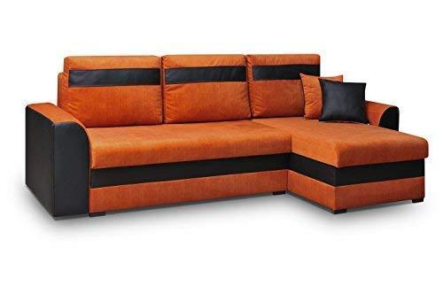 MEUBLO Canapé d'angle Convertibles 3 Place Tissu + Simili Cuir Tommy (Orange, Canapé d'angle Droit)