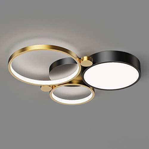 Pointhx Plafón LED de Disco posmoderno   Tipo de atenuación de Tres Colores Lámpara de Techo posmoderna incorporada Dormitorio Cocina Restaurante Sala Villa Aplique de Techo, Oro + Negro, 38-83W
