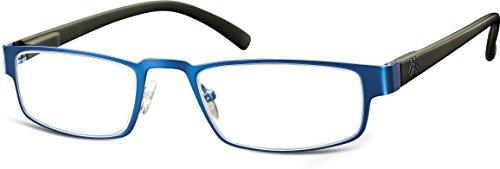 Montana Eyewear MR87B + 2.00 leesbril van roestvrij staal, kleur roodmetaal/zwart met kunststofbeugels inclusief hardcase met magneetsluiting, 1 stuk