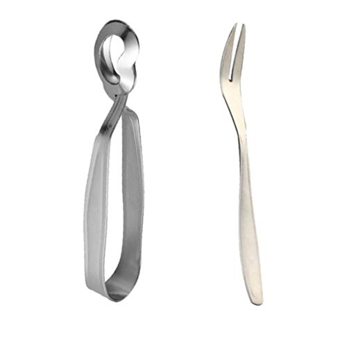 BESTonZON 2 stücke Schneckenbesteck Schneckenzange Schneckengabel Edelstahl Lebensmittel Clip Mini Küche Zange zum Kochen & Restaurant Servieren