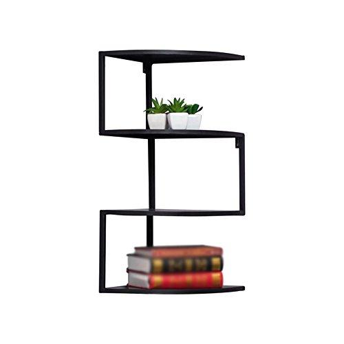 Zfggd Mehrschichtiges schmiedeeisernes fächerförmiges Gestell, Wand-Eckregal montiert schwimmende Organizer-Display-Speichereinheit (Color : Black, Size : 5 Tier)
