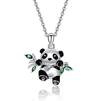 Sterling Silver Panda Necklace Lovely Panda Bamboo Pendant Heart Engraved Pendant Necklace Mother Panda Jewelry Gifts for Women Daughter Panda Lover  Lovely Panda