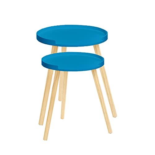 Tamia-Home - Tavolino da 2 pezzi, in legno, rotondo, 40 x 30 cm, colore: Blu