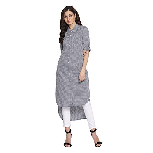 Indian Virasat Gray Colored Cotton Striped Printed High-Lo