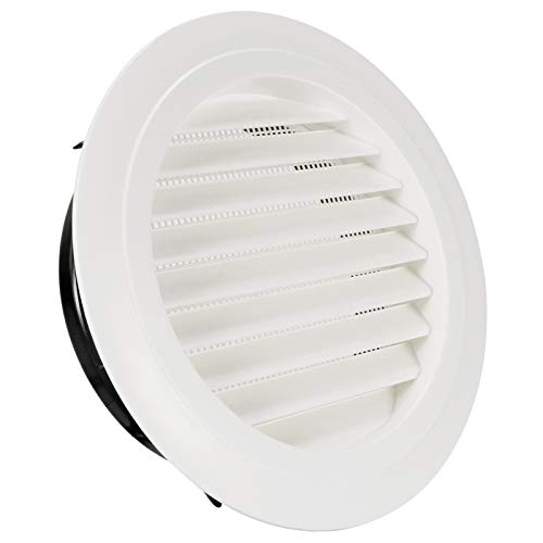 HG POWER 8 Inch Round Air Vent ABS Louver Grille Cover White Soffit Vent with Built-in Fly Screen Mesh for Bathroom Office Kitchen Ventilation