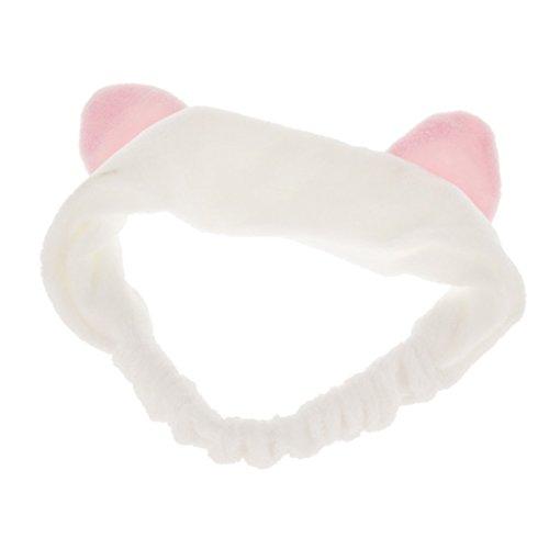 Haobase 1pcs Stirnband Haarbänder Mit Katzenohr Für Gesicht Waschen Oder Make-up (weiß)