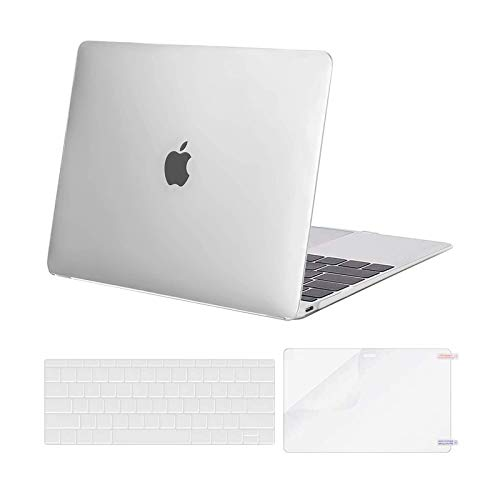 MOSISO Plastic Hard Shell Case & Keyboard Cover Skin & Screen Protector Compatible with MacBook 12 inch with Retina Display (Model A1534, Release 2017 2016 2015), Frost