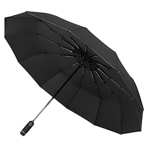 Sharplace Reise-Klappschirm für Regen Folable Auto Open Close LED Windabweisende Taschenlampe Winddicht Sicherheit für Outdoor-Wandern Reiten Radfahren - Schwarz