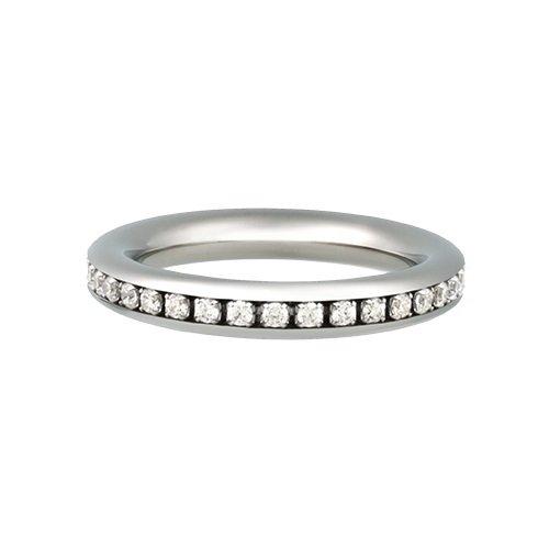 Kadó Ring Changes Edelstahl bombiert glänzend 3,5mm 250-3,5-18P mit Steinen rundherum (56 (17.8))