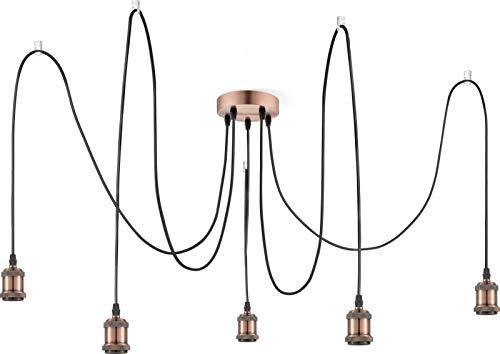 Hängelampe Vintage Kupfer Industrie Design Hängeleuchte Küche Esszimmerlampe (Küchenlampe, 5 Flammig, Pendellampe, Retro, Höhe 200 cm)