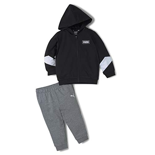 PUMA Kinder Minicats Rebel Hooded Jogger Trainingsanzug, Black, 104
