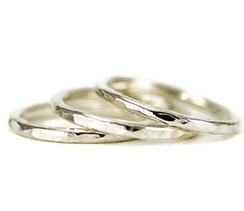 Hammer Textured Stacking Rings- Sterling 2 mm Rings - Create Your Own Set
