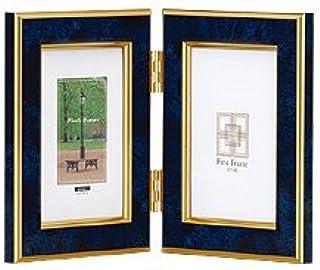 NAKABAYASHI 樹脂製写真立 マーブル(大理石調) L判タテ+L判タテ 2面タイプ ブルー フ-TP-151-B