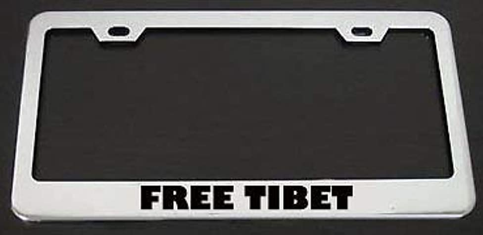 Teisyouhu Free Tibet Decorative License Plate Frame Auto Tag for Front of Car Stainless Steel Car Holder