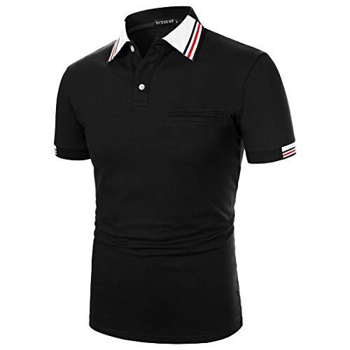 YCUEUST Polo Homme Cotton Casual Basic Tennis Golf T-Shirt Noir M