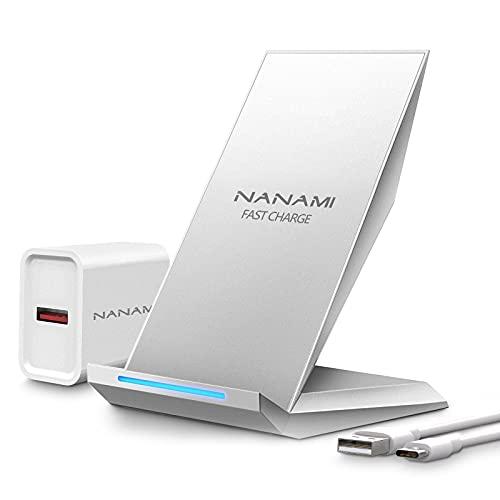 NANAMI Cargador Inalámbrico Rápido,Qi Wireless Charger (con Adaptador QC 3.0) para iPhone 12/11/11 Pro/11 Pro MAX/XS MAX/XR/XS/X/8+/8,10W Carga Rápida para Galaxy S21/S20/S10/S10E/S9/S9+/S8/Note 20/10