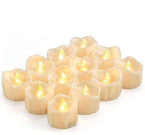 Kohree 12 x LED Kerzen mit Timer Batterien Flammenlose Flackernd Kerzen LED flameless Teelichter Elektrische Flackern Kerzen Timerfunktion für Outdoor Muttertag Valentinstag Party Geburtstag Warm weiß
