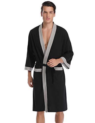Aibrou femme homme Kimono Tissage Gaufré Peignoir de Bain Unisexe Coton Waffle Robe de Chambre col V Pyjama Pour l'hôtel Spa Sauna Vêtements de nuit - Noir - M