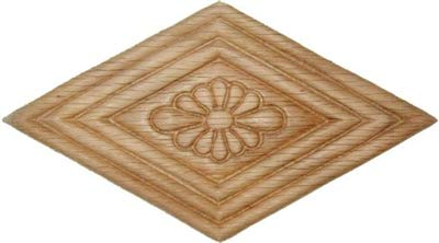 UNIQANTIQ HARDWARE SUPPLY Veneered Oak Decorative Ornament Rhombus Applique - 5' x 2-3/4' - Onlay Antique & Modern Furniture Doors, Walls Carved Wood Ornamental Decor | W3-5779