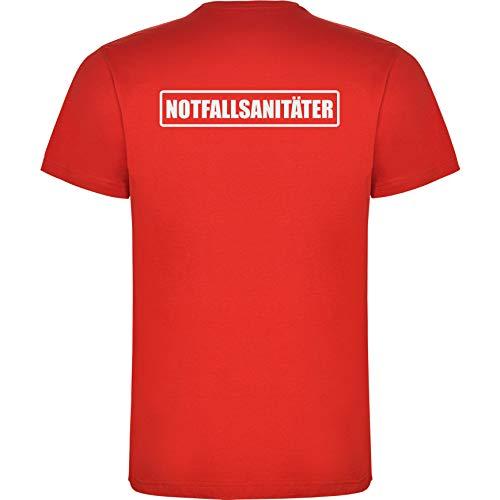 Notfallsanitäter Herren Men's T-Shirt Licht-reflektierende Folie Aufdruck L23 rot red (M)