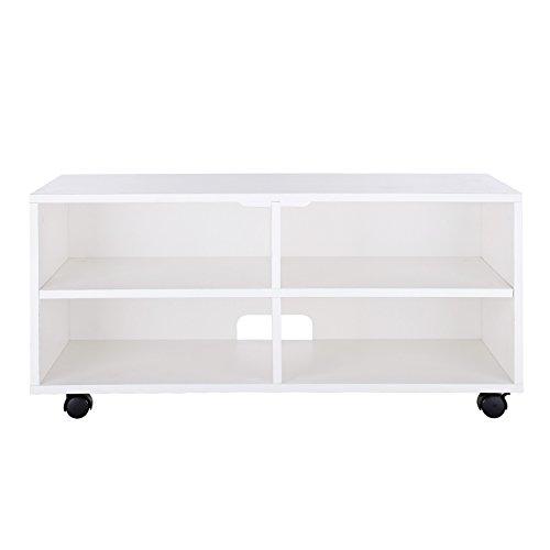 VASAGLE Mueble para TV con 4 Compartimentos y Ruedas, Mesa Baja para TV, Mueble para televisor, Disco Duro, para Comedor, Blanco LTC02WT