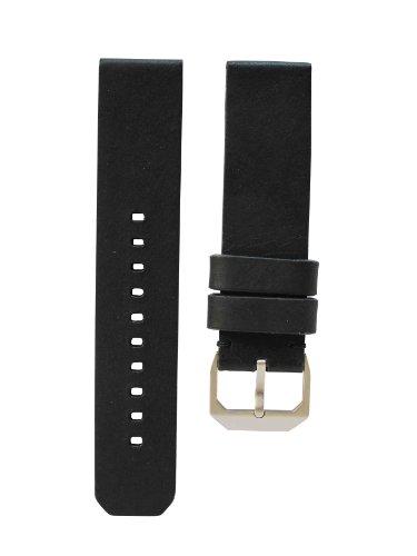slow - Black Vintage Leather Strap, Silver Buckle