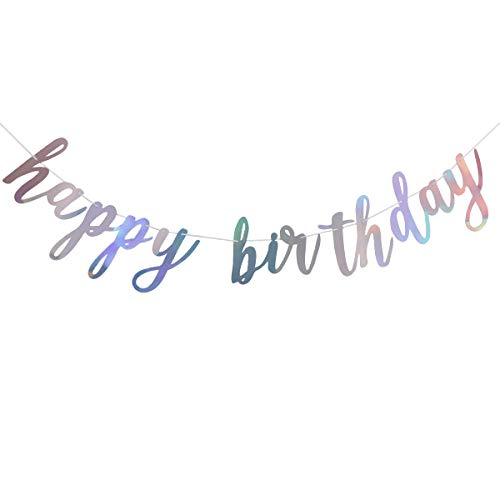 Shiny Happy Birthday Banner Sign Garland- Happy Birthday Sign,Happy Birthday Letters Banner,Birthday Party Decoration Supplies
