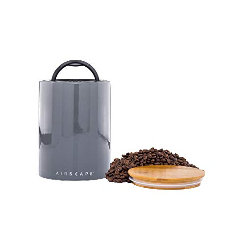 Airscape Ceramic Coffee and Food Storage Canister - Patented Airtight Lid Preserves Food Freshness, Glazed Ceramic with Bamboo Top, Slate Grey, Medium