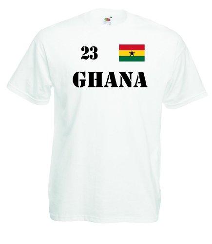 world-of-shirt Herren T-Shirt Ghana Trikot Fan Shirt Nr.23|weiß L