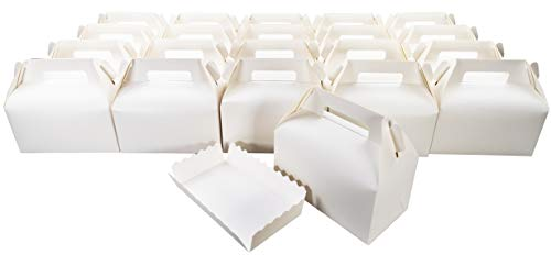 Cake Boxes with Boards – Set of 20 Bakery Boxes 6.8 x 3.7 x 3.7-inch with Lids – Disposable Cake Containers - Carton Box for Pie, Cake, Muffins and Cookies – Elegant Ivory Color