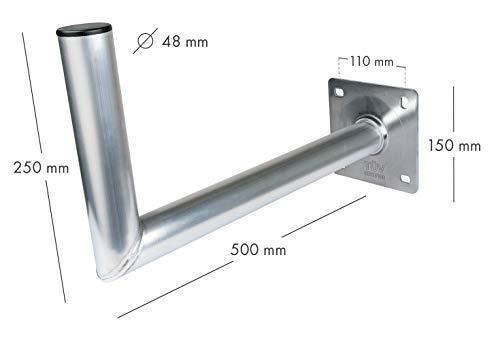 SCHWAIGER -5156- Support pour antenne satellite | antenne SAT | système satellite | support mural avec support en aluminium | distance au mur 45 cm